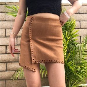 Urban Outfitters Haute Rogue faux suede tan skirt